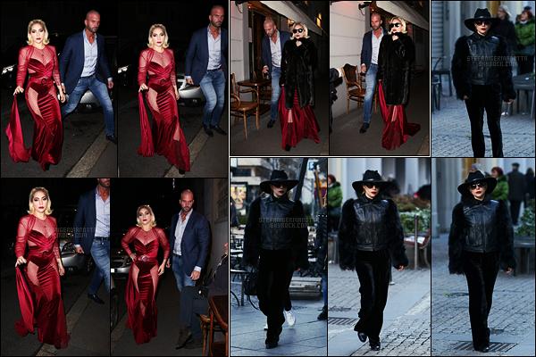 17/01/18 -  Dans la soirée, Lady Gaga a été photographiée arrivant au restaurant Da Giacomo - à Milan.  Plus tard, elle a été vue quitant le restaurant et plus tôt elle était dans les rues de la ville. J'aime bien la tenue rouge mais  petit top !