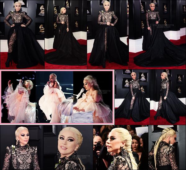 28/01/18 -  Dans la soirée, Lady Gaga a foulé le tapis des prestigieux Grammy Awards, à New York City.  Elle y a performé Joanne et Million Reasons et n'a malheureusement gagné aucun des deux prix dans lesquels elle était nominée, top