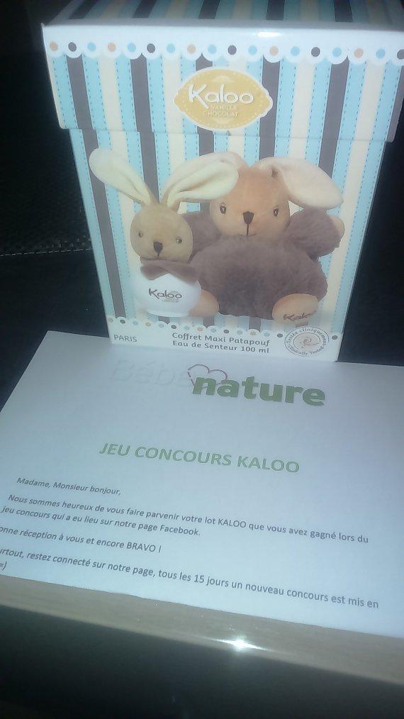 Gagner un jolie coffret kaloo senteur vanille chocolat grâce à la page bébé nature sur Facebook