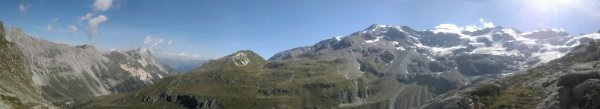 Quelques vues panoramiques prises autour du petit col en haut du cirque d'Ariande et lors du début de la decente.