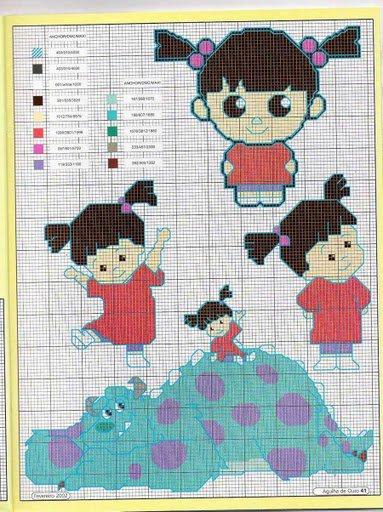 C22 contre 1 morceau de toile aida ecru (10X10cm)+ 1 echevette n°702 ( 6 grilles des personnages)