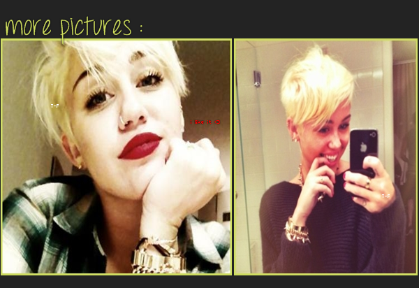 ♦ Non mais c'est quoi ça ? __________ Si c'est une blague, qu'on me le dise de suite !             'Fin , si elle se sent mieux dans sa peau comme ça , surtout que c'est quand même pour la bonne cause ♥.     #Article : News ; Miley Cyrus.