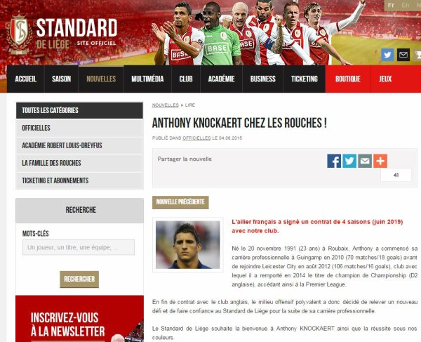 Officiel : Anthony Knockaert rejoint le Standard