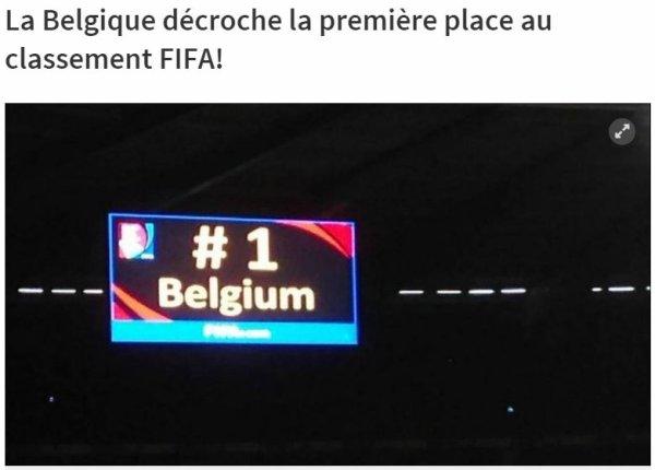 La Belgique décroche la première place au classement FIFA!