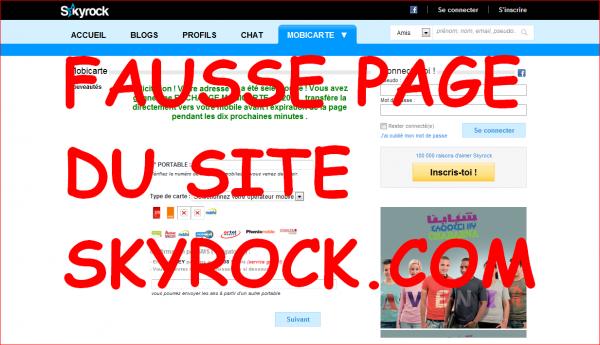 ATTENTION AUX FAUSSES PAGES DU SITE DE SKYROCK.COM !!!