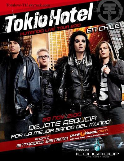 Affiche du concert a Santiago