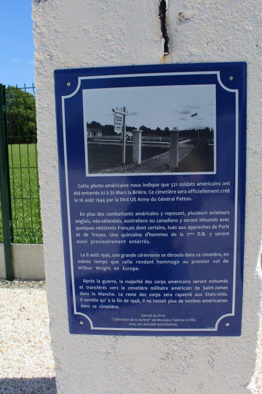Inauguration d'une stèle d'un ancien cimetière américain ww2 en Sarthe