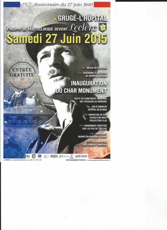 INAUGURATION DU CHAR MONUMENT A GRUGE L HOPITAL LE 27/06/2015