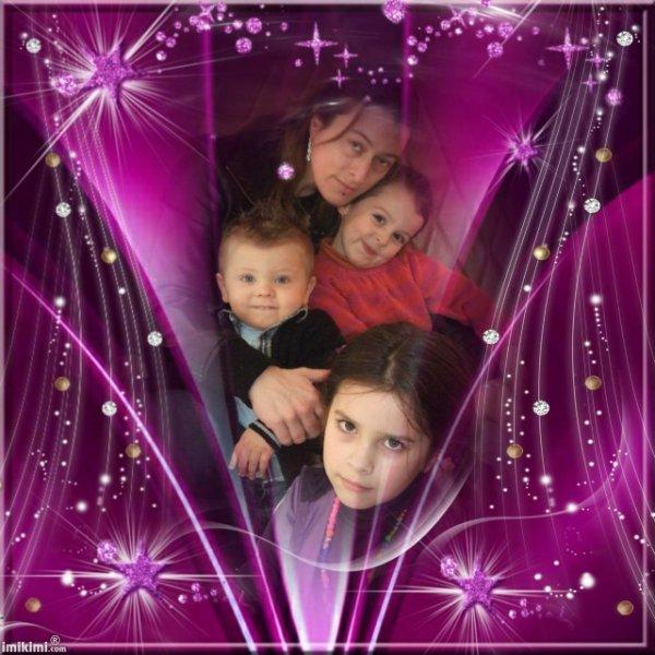 ma belle fille magalie et mes trois loulous bisous mes petits coeur
