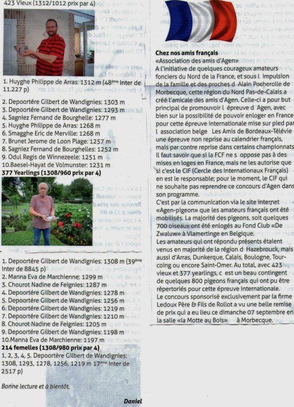 Lâcher Agen/TéléVie.et 2 articles de la vie colombophile belge!.