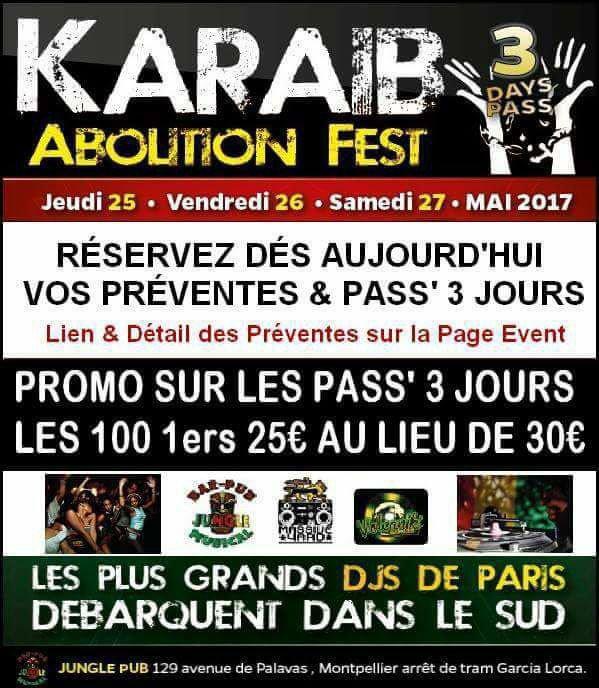 KARAIB ABOLITION FEST / 3 JOURS @ JUNGLE PUB MONTPELLIER FIN MAI