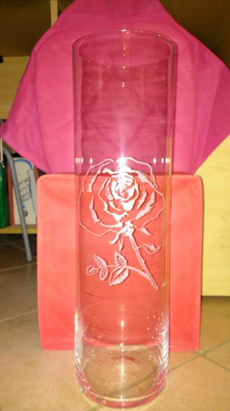 rose sur grand vase (H50cm)