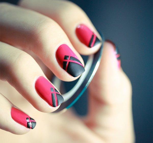 tuto ongles rose et noir mat blog de fashionswag15. Black Bedroom Furniture Sets. Home Design Ideas