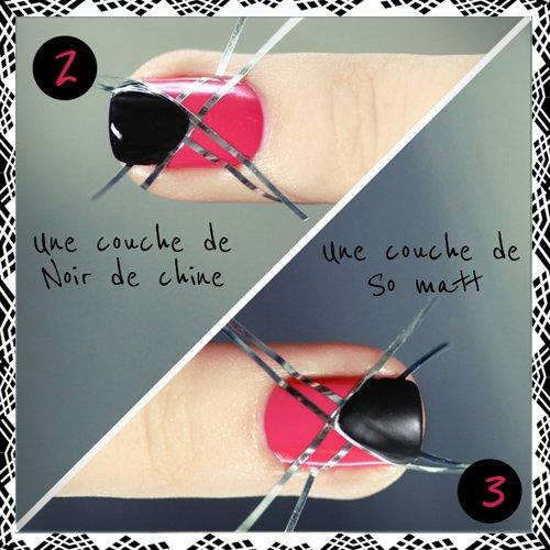 tuto ongles : rose et noir mat