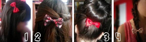 4 coiffures avec un noeud