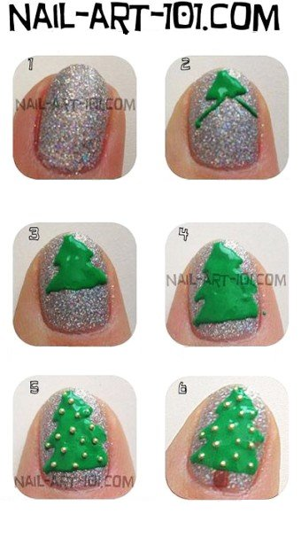 Nail art sapin de Noël.