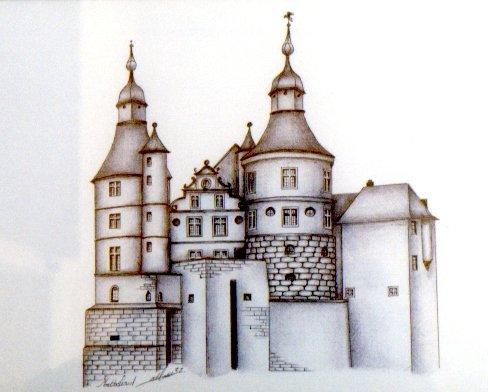Dessin au stylo à bille, MONTBELIARD (25), le château (indisponible)