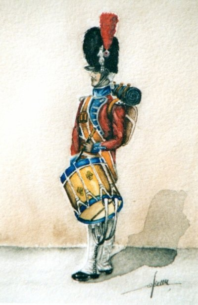 Aquarelle, soldat empire tambour (indisponible)