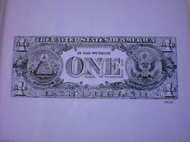 One Dollar, dessin à la plume et à l'encre verte (150 Euros)
