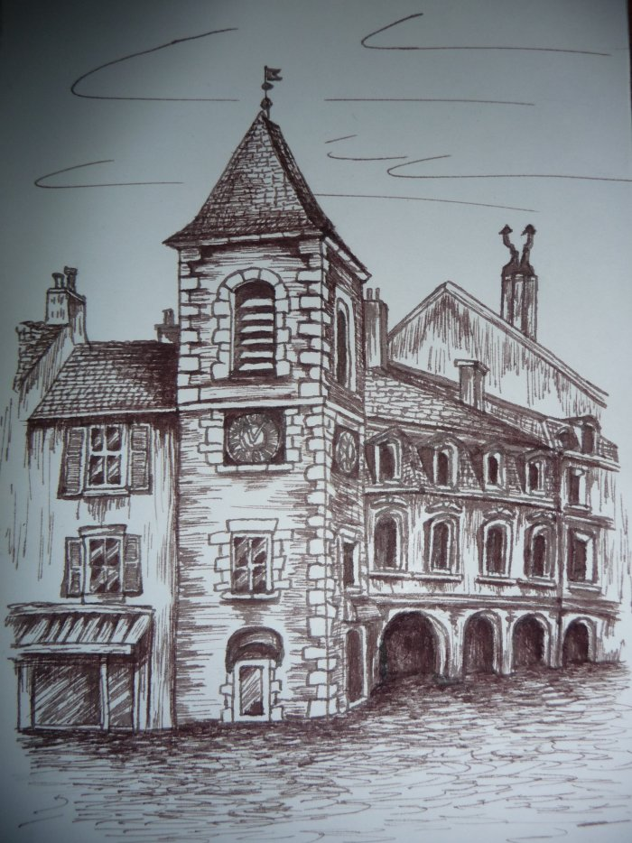 Dessin à l'encre, Jura, LONS LE SAUNIER, Tour de l'Horloge, rue du Commerce (50 Euros)