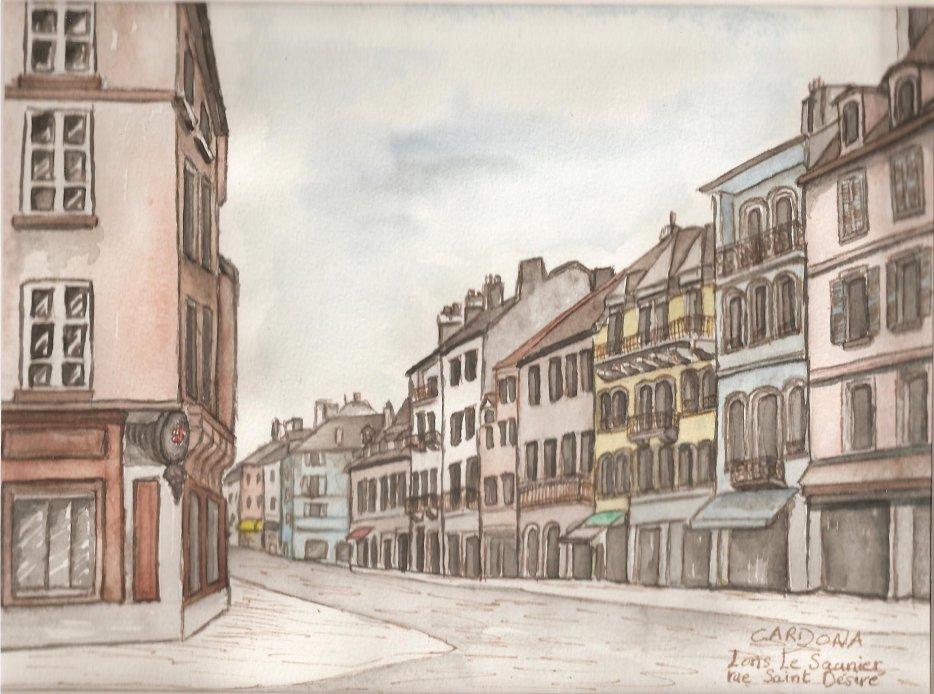 Dessin-aquarelle, Jura, LONS LE SAUNIER, rue Saint-Désiré (60 Euros)