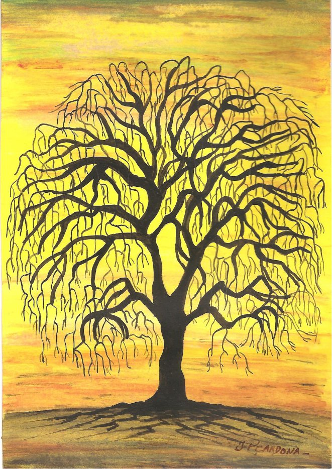 Acrylique, arbre contre-jour (15 Euros)