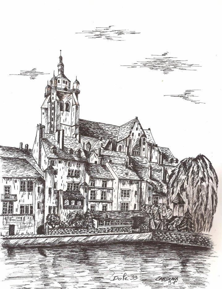 Dessin à l'encre, la basilique de Dole Jura (70 Euros)