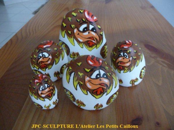 Artisanat d 39 art galets peints poules en vrac ref n 71u prix 05 07 10 euros blog de jpc - Galets en vrac ...