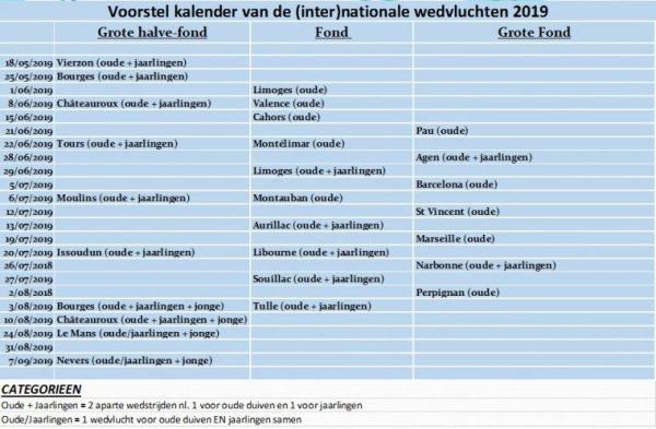 Belgique........Calendrier national 2019