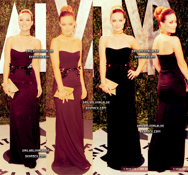 Hier soir, Olivia était à la 2012 Vanity Fair After Party organisé par Graydon Carter à Sunset Tower Hotel, à West Hollywood et elle était éblouissante dans une robe noire Gucci et avec des accessoires dorés. Quel regard!! Elle avait l'air absolument magnifique ! Pour moi c'est un MEGA TOP.Alors TOP,BOF OU FLOP