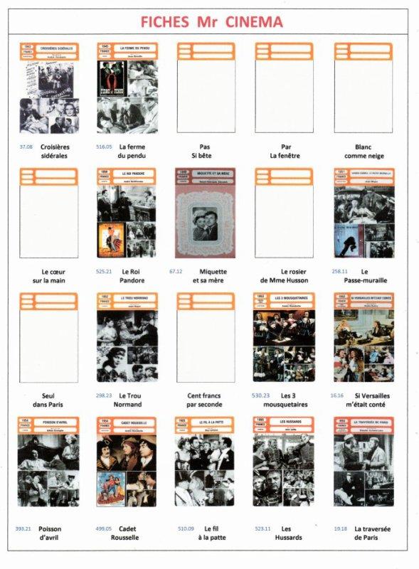 Les Fiches Mr Cinéma & Les fiches Chansons