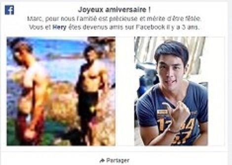 Joyeux amiversaire ! Marc, pour nous l'amitié est précieuse et mérite d'être fêtée. Vous et Hery êtes devenus amis sur Facebook il y a 3 ans.