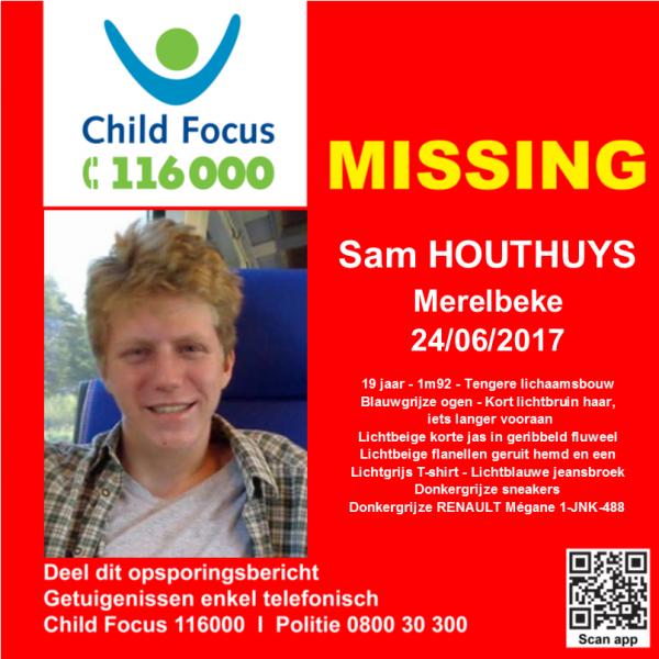 Disparition de Sam #HOUTHUYS à Merelbeke le 24/06/2017