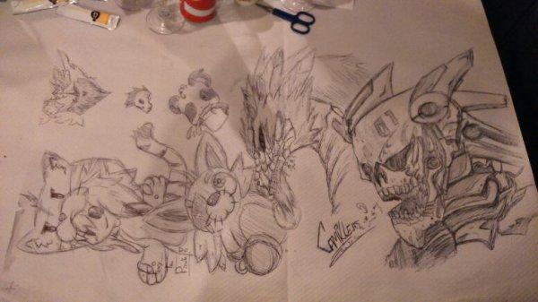 Lorsque Crim~ est au restaurant ! ._. (Oui...dessiner sur une nappe en papier...)