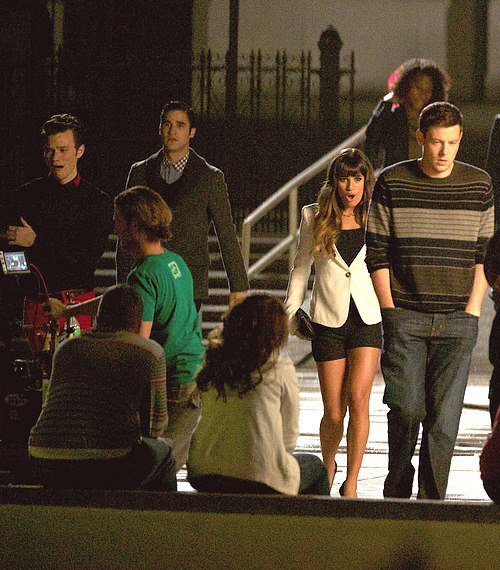 Darren, Chris, Lea et Cory en plein tournage.