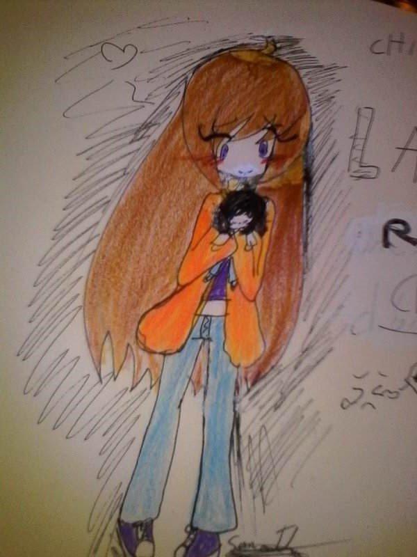 Laura et  peluche de jeff dessin