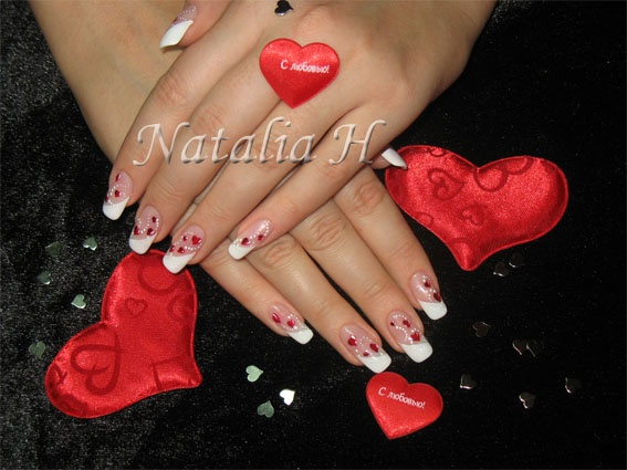 Les ongles \u0026quot;St Valentin\u0026quot; Gel+french vernis+déco en peinture