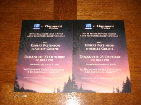 INVITATION POUR LE FAN EVENT DU 23 OCTOBRE 2011