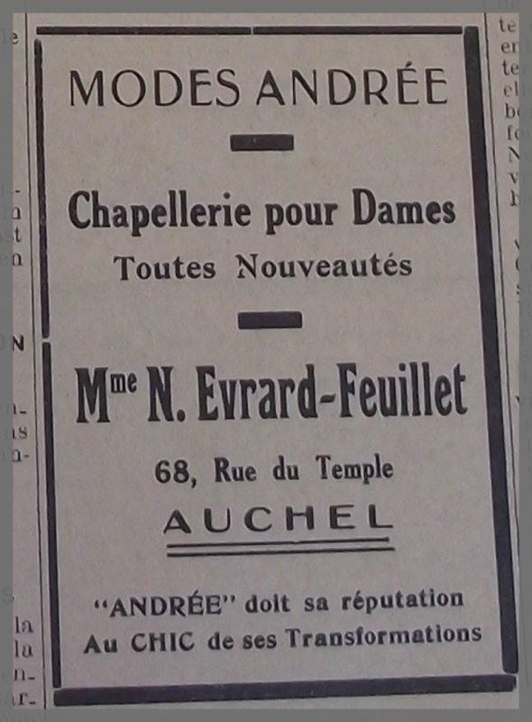 AUCHEL Modes Andrée Chapellerie pour dames - 68 rue du Temple -