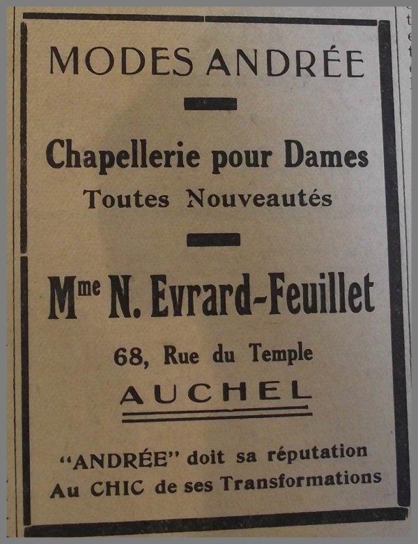 AUCHEL Chez Andrée - Chapellerie pour Dames 68 rue du Temple -