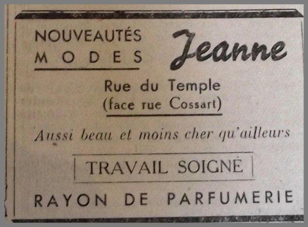 AUCHEL Nouveautés Modes, chez Jeanne rue du Temple face rue Cossart -