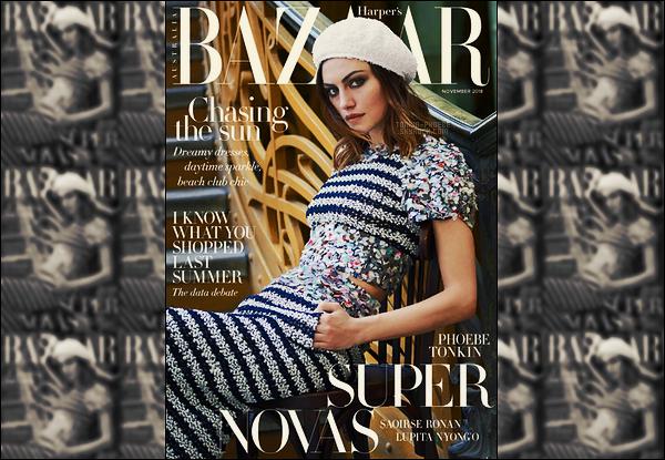 .  Phoebe Tonkin  est en couverture d'Harper's Bazaar, Australie pour Novembre 2018 !  .