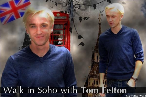 Tom Felton dans le quartier de Soho à Londres.