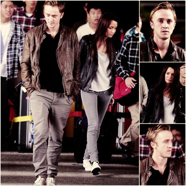 Arrivée de Tom Felton à l'aéroport LAX de Los Angeles avec Jade