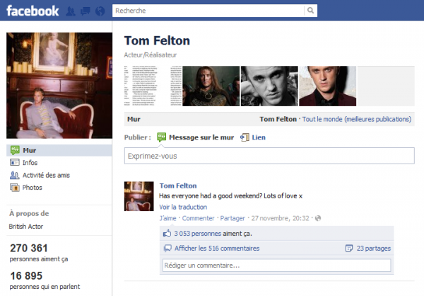 Page Facebook de Tom Felton