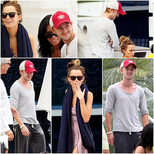 Tom Felton allant déjeuner avec Jade, les parents et frères de Jade dans un restaurant de Miami, le 28 Décembre 2012