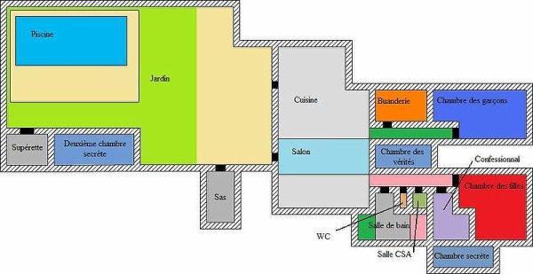 le plans de la maison des secret . secret story 1