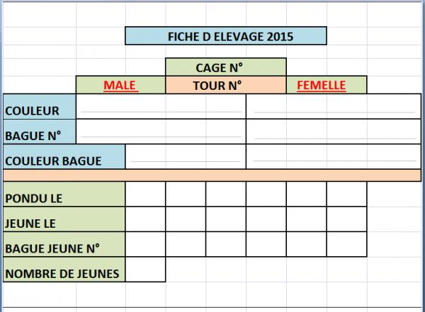 Mes fiches d élevage pour mes canaris 2015