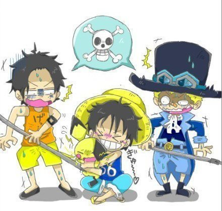 Ace, Luffy Sabo et Pichu !