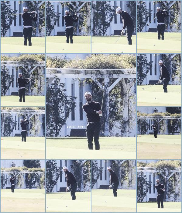 . 06/03/18.─ Notre Jamie Dornan faisant sa partie de Golf dans un terrain a Los Angeles. TOP. Trop classe Jamie! Je suis tellement contente de le voir a nouveau sortir même après Fifty Shades! Il adore le golf Jamie. .